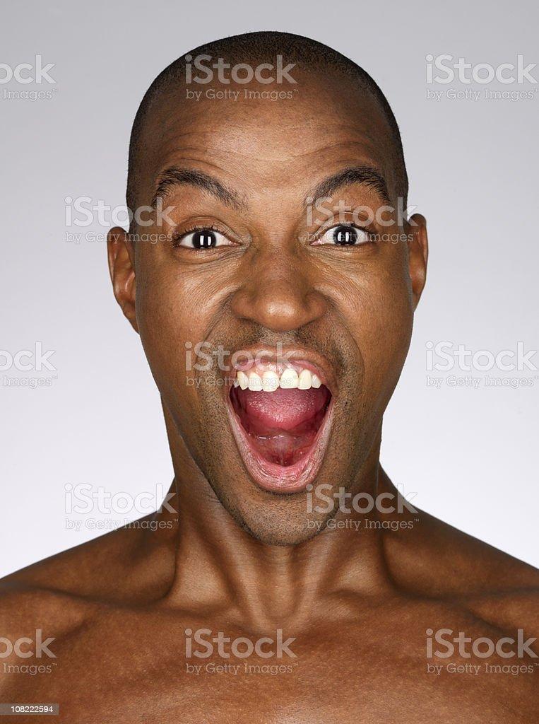 Portrait of Man Yelling royalty-free stock photo