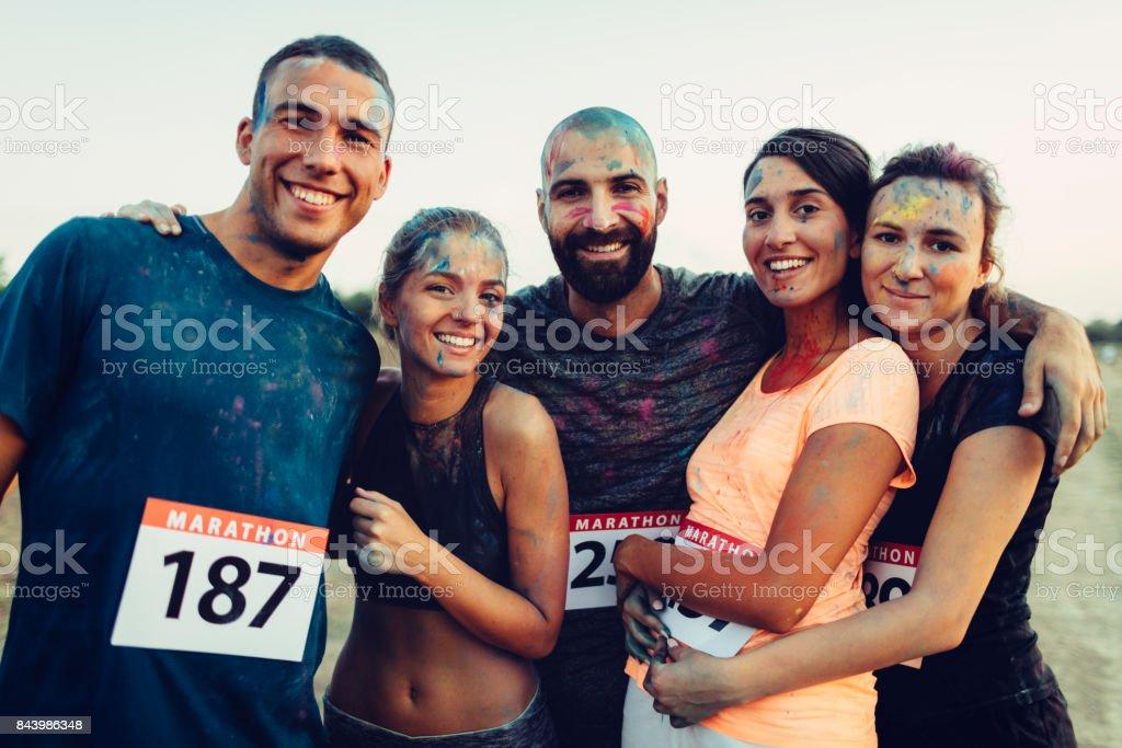 Portrait of Marathon Runners stock photo