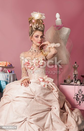 istock Portrait of Marie Antoinette in pink 490938524