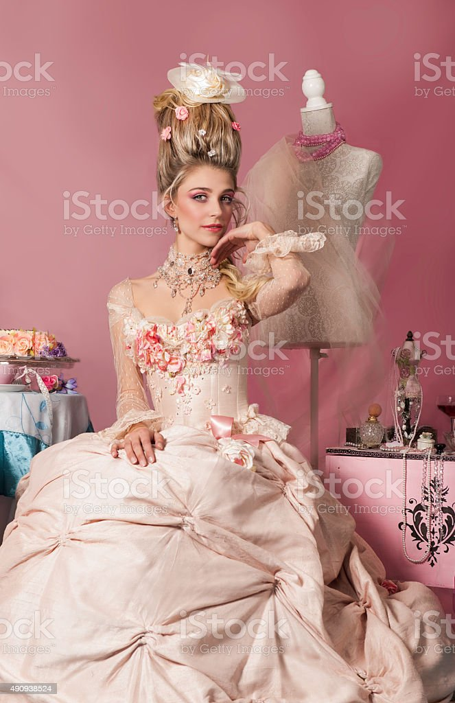 Portrait of Marie Antoinette in pink stock photo