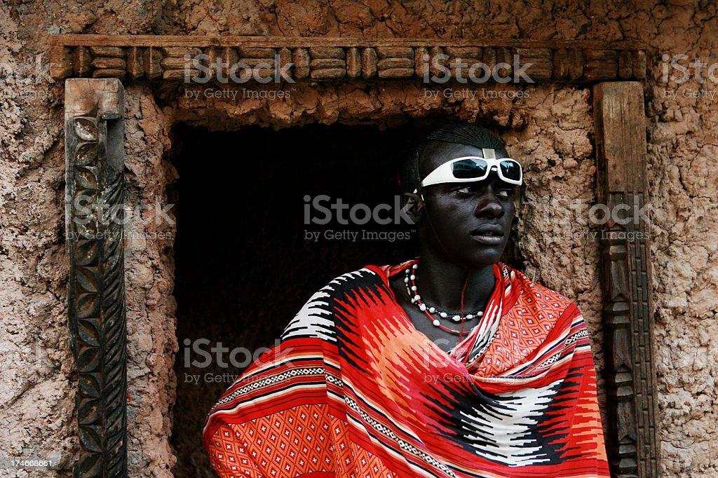 Portrait of Massai man dressed fashionably stock photo
