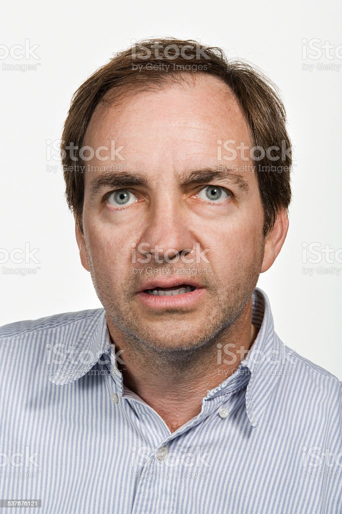 Portrait of mature adult caucasian man stock photo