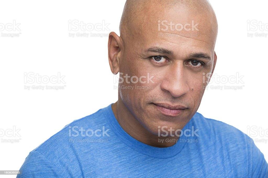 Portrait of mature african american man on white background royalty-free stock photo