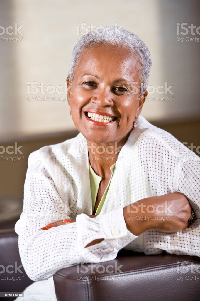 Portrait of mature African American woman smiling stock photo