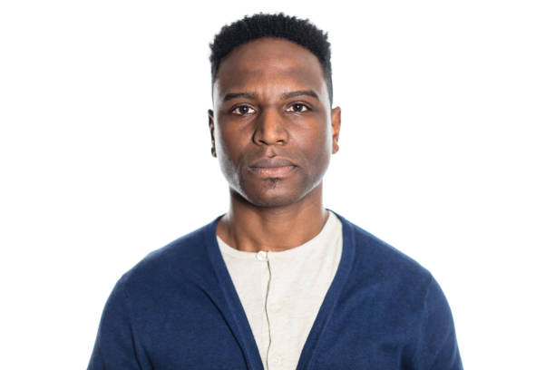 Portrait of mature african man looking serious stock photo