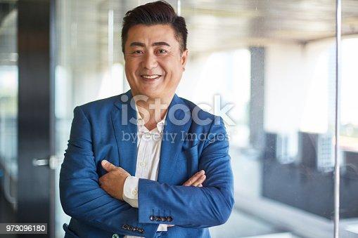 Portrait of mature asian businessman smiling to camera.