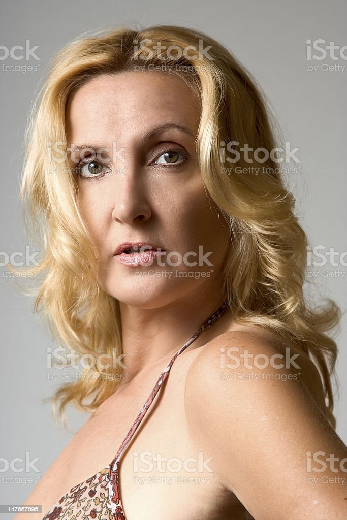 Portrait of mature blond woman royalty-free stock photo