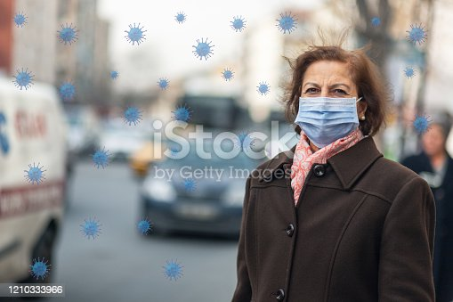 istock Portrait Of Mature  business  Woman With Face Mask 1210333966