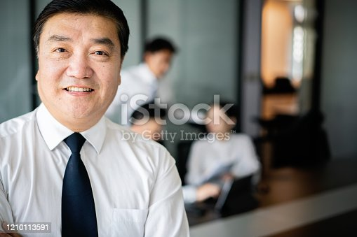 960195072 istock photo Portrait of mature businessman cross the arm in the meeting room 1210113591