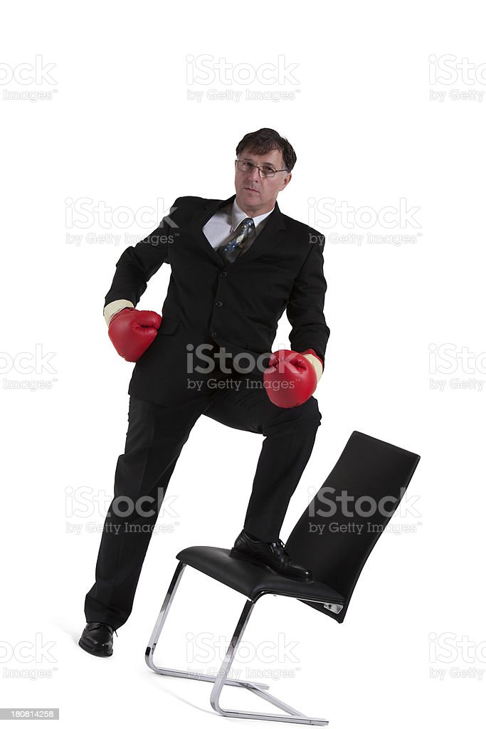Portrait Of Mature Businessman With Boxing Glove royalty-free stock photo