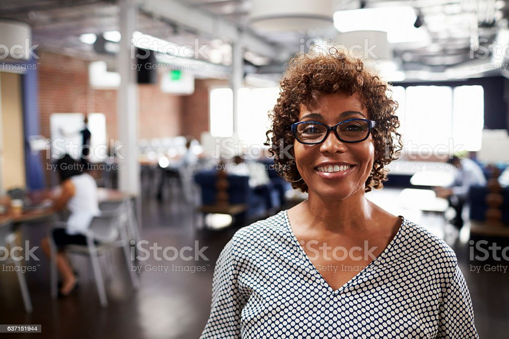 Portrait Of Mature Businesswoman In Modern Open Plan Office stock photo