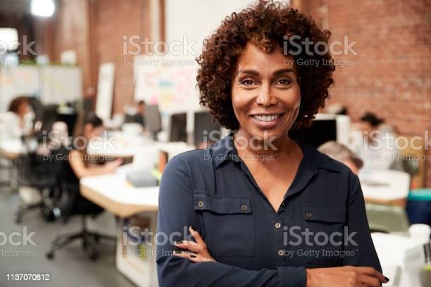 Portret Van Volwassen Zakenvrouw In Open Plan Office Met Business Team Werken In De Achtergrond Stockfoto en meer beelden van 50-59 jaar