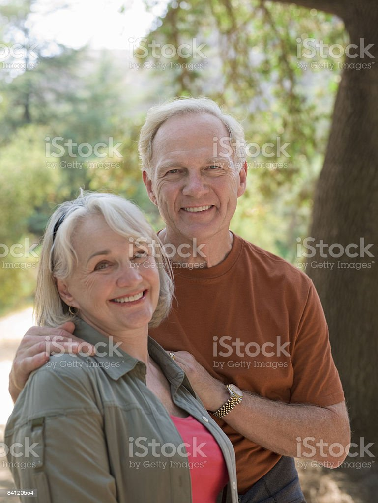 Portrait of mature couple in nature.  royalty-free stock photo
