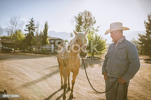 Portrait of mature cowboy with horse in Utah, USA