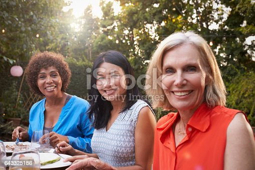 istock Portrait Of Mature Female Friends Enjoying Outdoor Meal 643325186