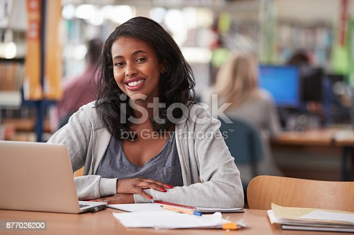 istock Portrait Of Mature Female Student Using Laptop In Library 877026200