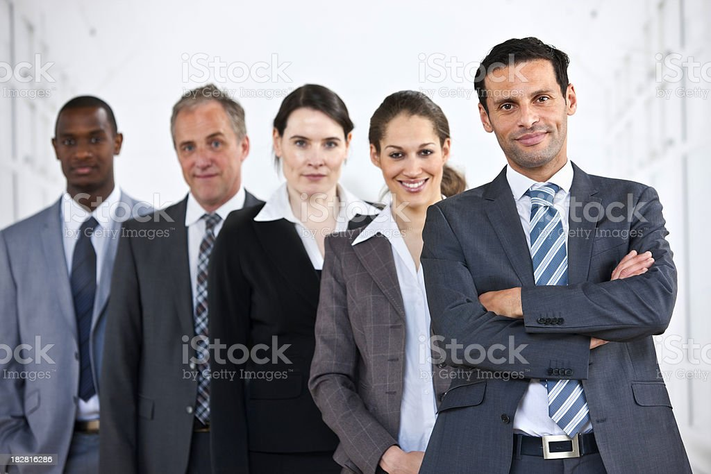 Portrait of mature interracial Business Group standing in line royalty-free stock photo