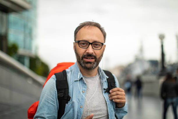 Portrait of mature man in London stock photo