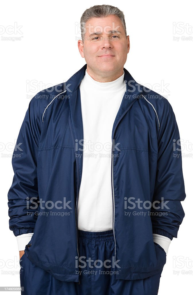 Portrait Of Mature Man In Track Suit stock photo