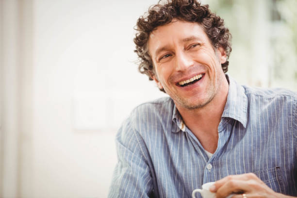 Portrait of mature man smiling stock photo