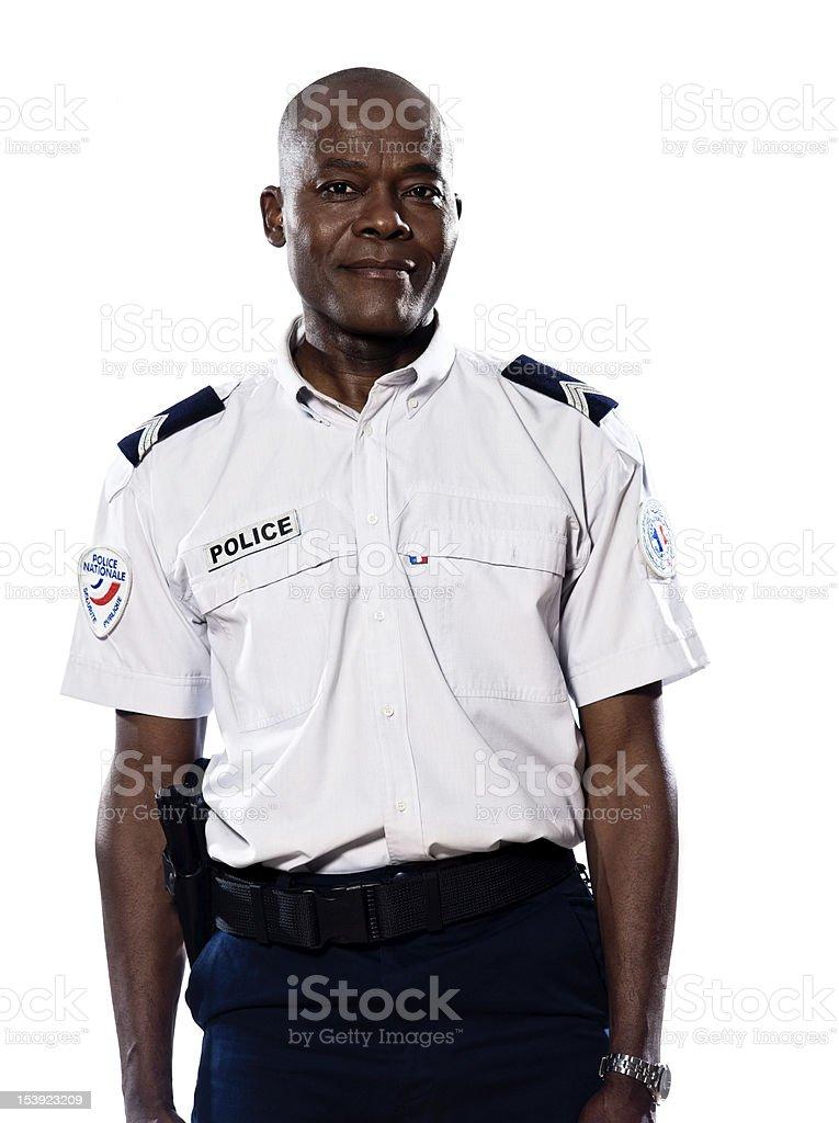 Portrait of mature policeman stock photo
