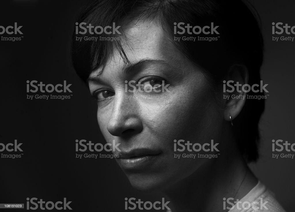 Portrait of Mature Woman, Black and White stock photo