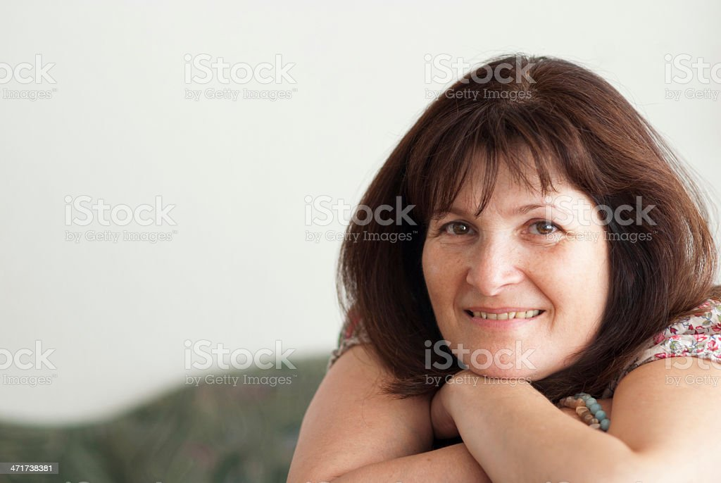 Portrait of mature woman smilling stock photo