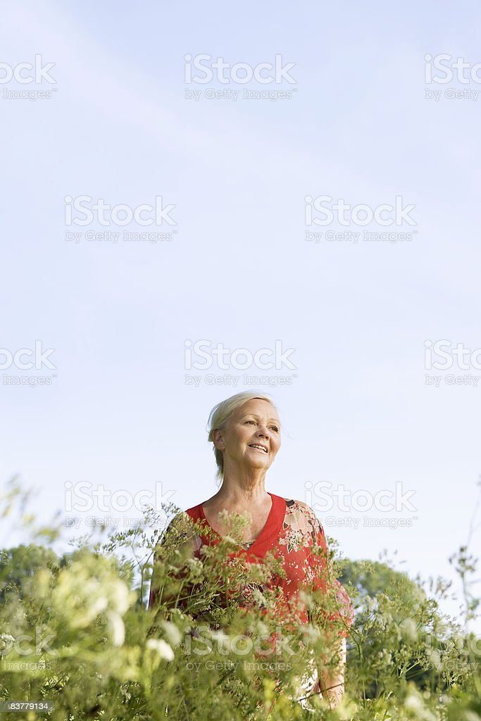 Portrait of mature woman with flowers royalty-free stock photo