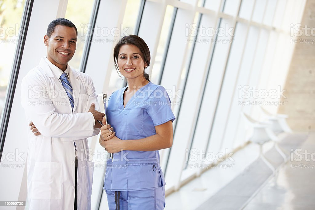 Portrait Of Medical Staff In Corridor Inside Modern Hospital stock photo