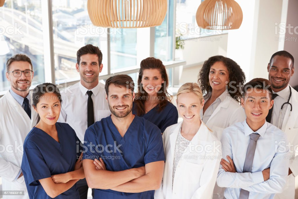 Portrait Of Medical Team In Hospital stock photo