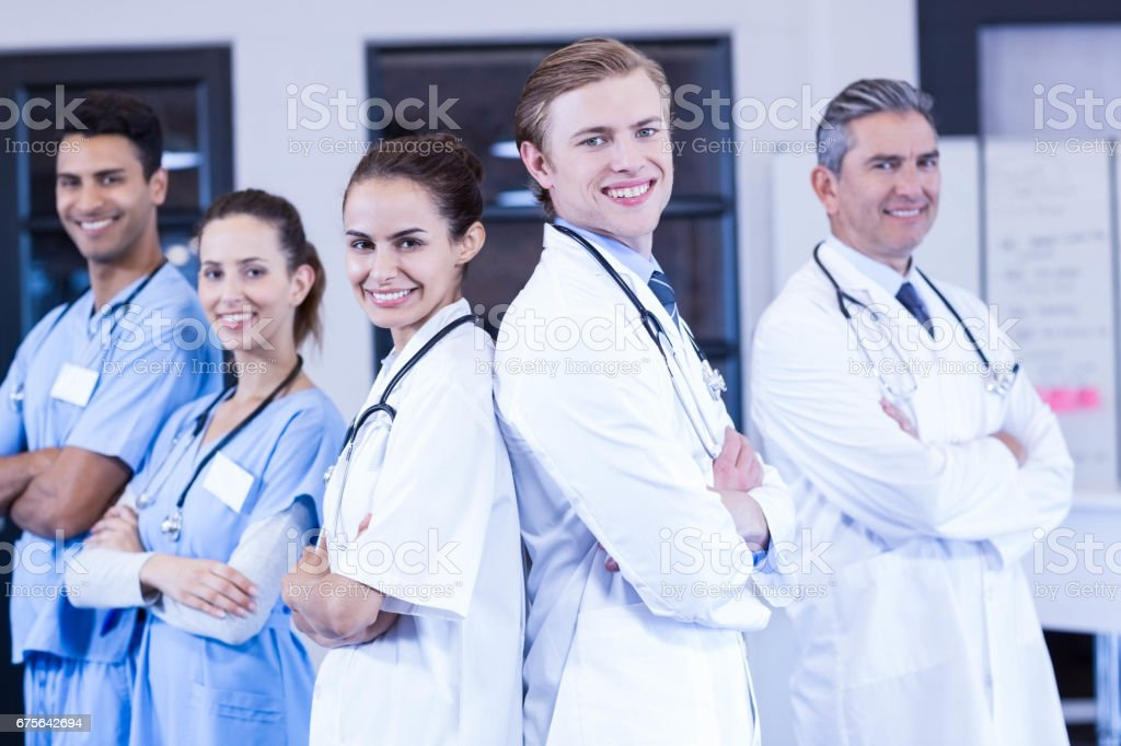 Portrait of medical team standing with arms crossed royalty-free stock photo