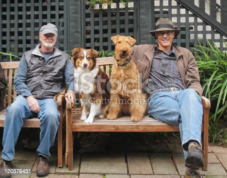 istock Portrait of men and dogs. 120376431