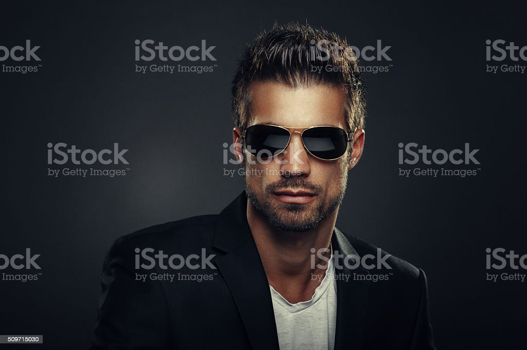 Portrait of men with sunglasses stock photo