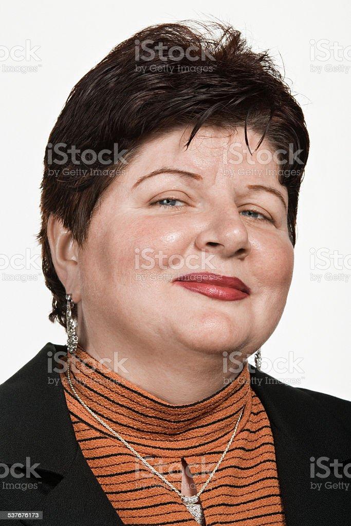 Portrait of mid adult caucasian woman stock photo