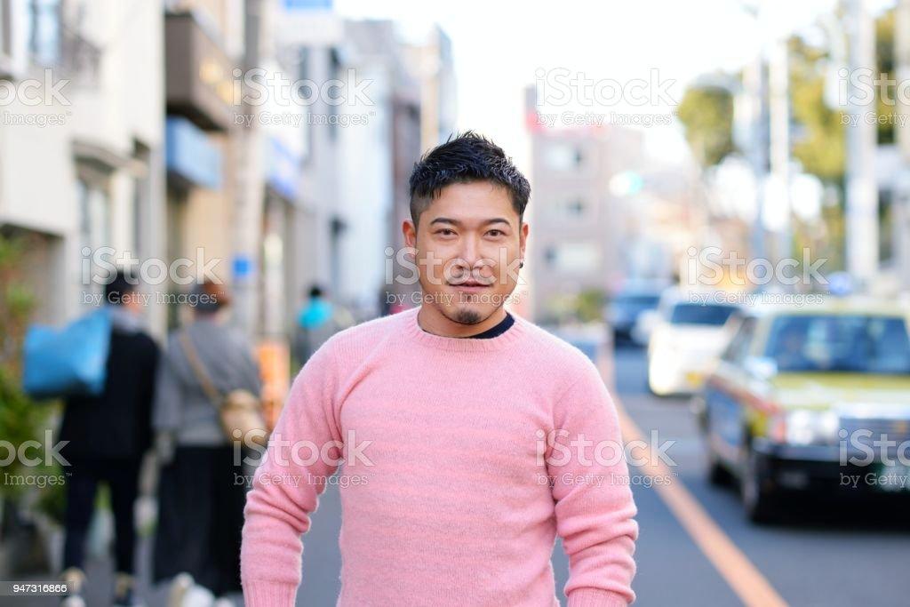 Portrait of mid adult Japanese man stock photo