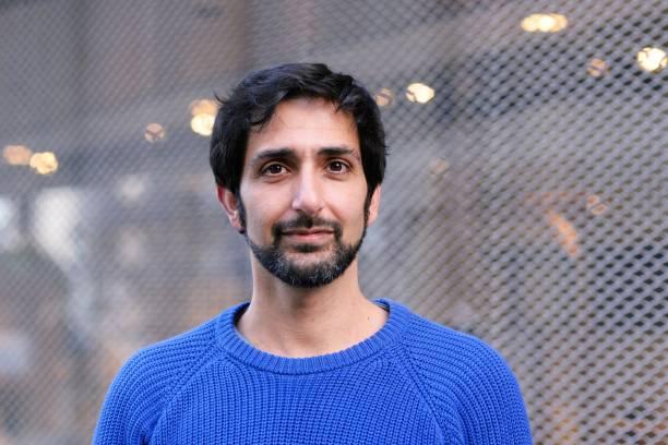 Portrait of mid adult man stock photo