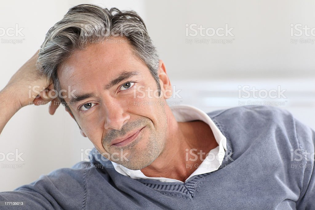 Portrait of mid-aged man stock photo