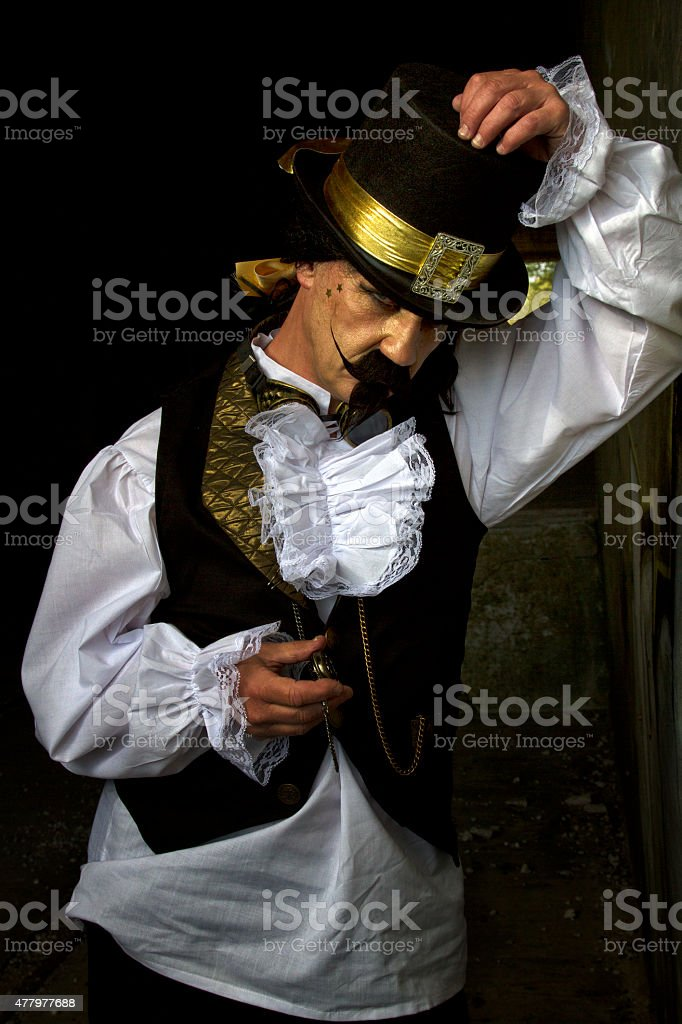 Portrait of middle aged man in Steampunk costume stock photo