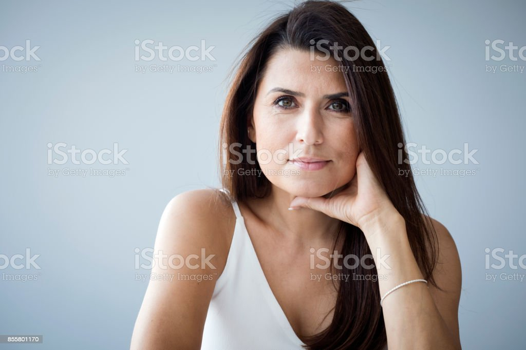 Portrait of middle aged woman stock photo