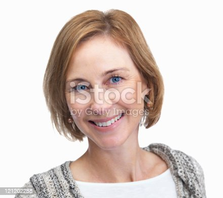 977601820 istock photo Portrait of middle aged woman smiling isolated on white backgrou 121202288