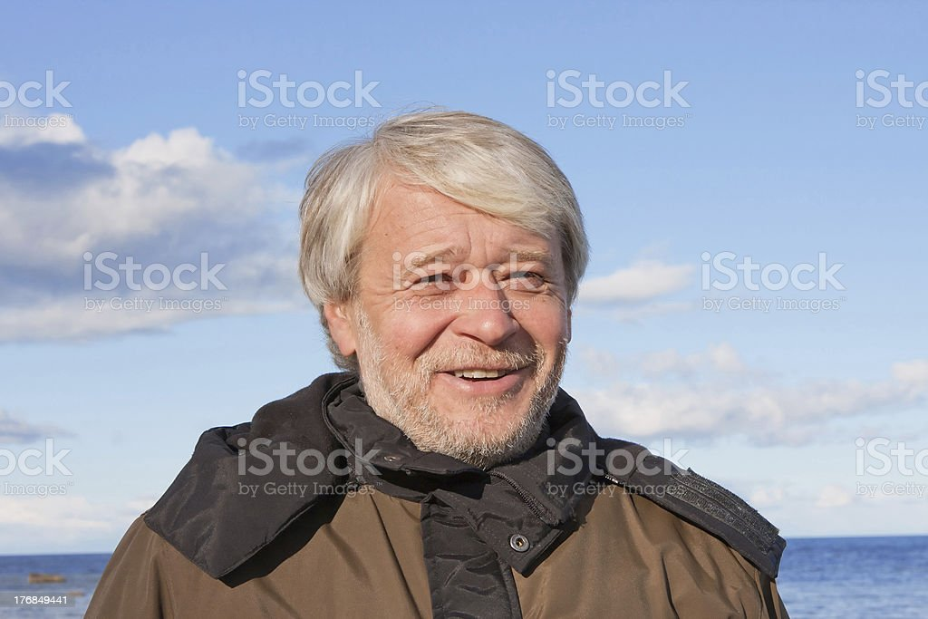 Portrait of middle-aged man at the sea. royalty-free stock photo