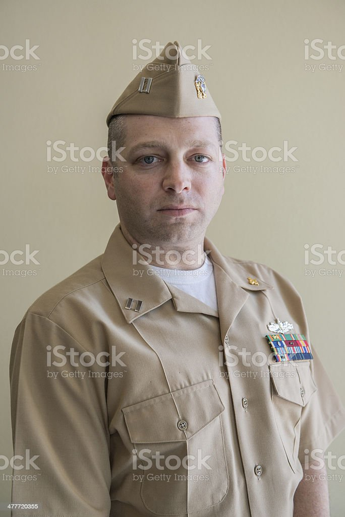 Portrait of military officer in uniform stock photo