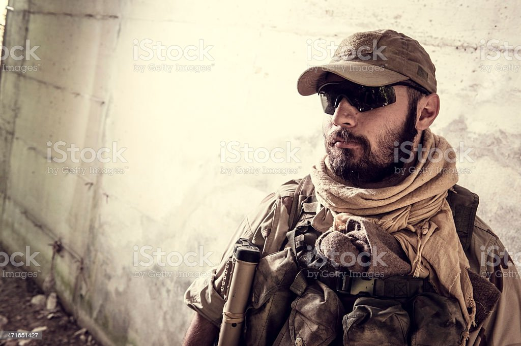 Portrait of Modern Mercenary Soldier stock photo