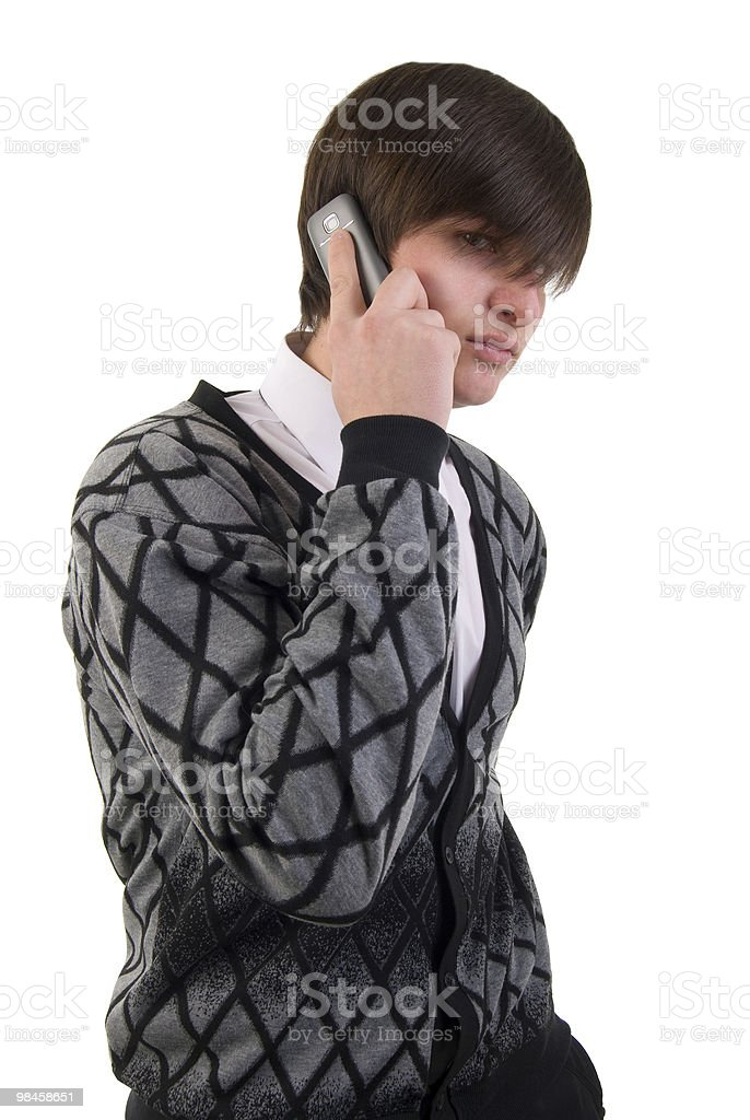 Portrait Of Modern Young Man Talking On Mobile Phone. royalty-free stock photo