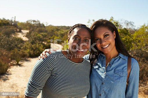 904170246 istock photo Portrait Of Mother And Adult Daughter Hiking In Countryside 646020034