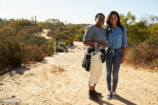 904170246 istock photo Portrait Of Mother And Adult Daughter Hiking In Countryside 646020046