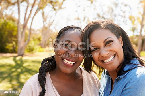 istock Portrait Of Mother And Adult Daughter In Park Together 646011630