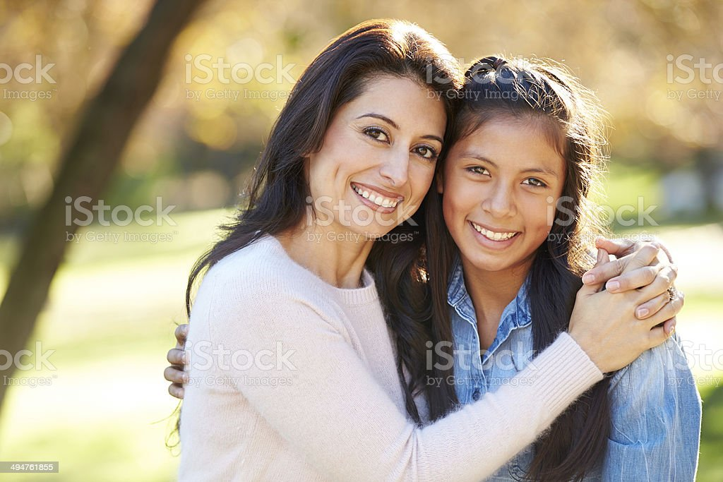 Portrait Of Mother And Daughter In Countryside stock photo