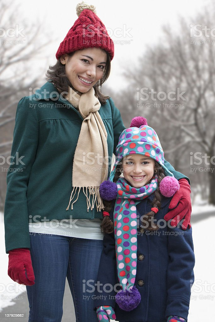 Portrait of mother and daughter in winter royalty-free stock photo