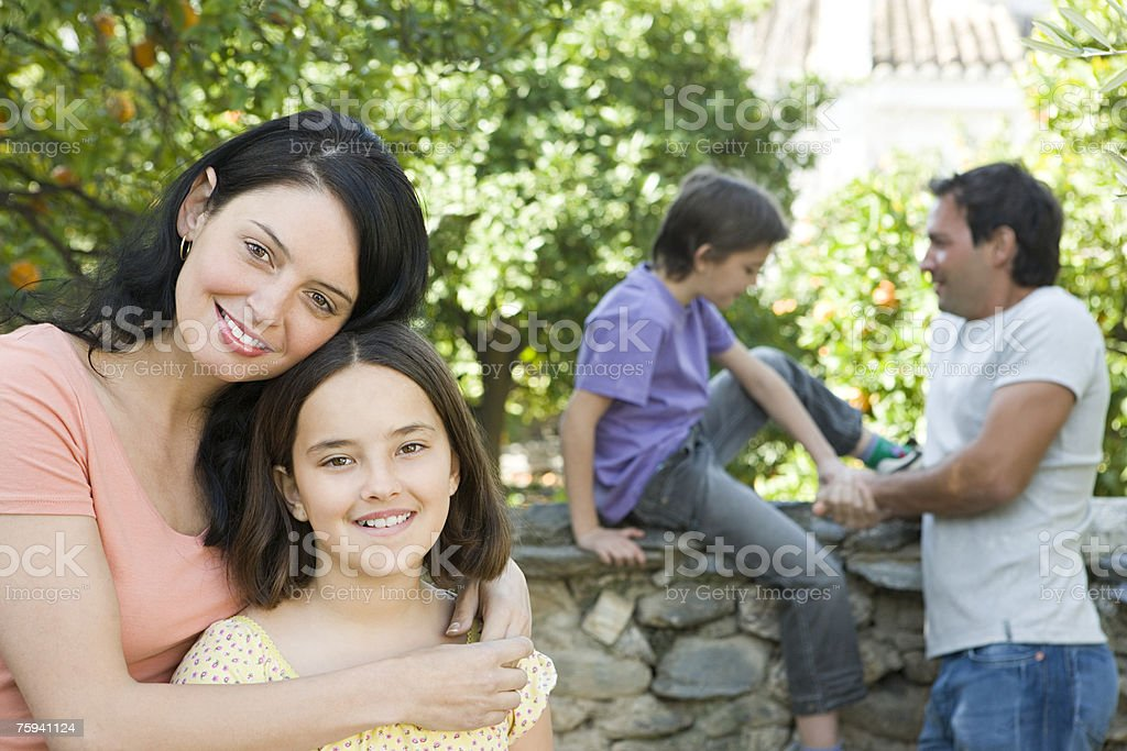 Portrait of mother and daughter stock photo